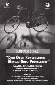 """Brosur Seminar & Diskusi """"Dari Guru Konvensional Menuju Guru Profesional"""""""